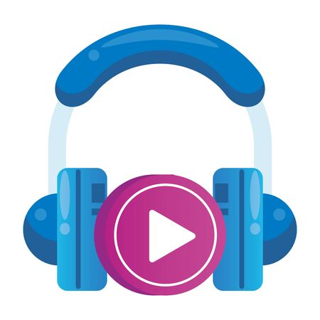 media player play button with earphones vector illustration design Vektorové ilustrace