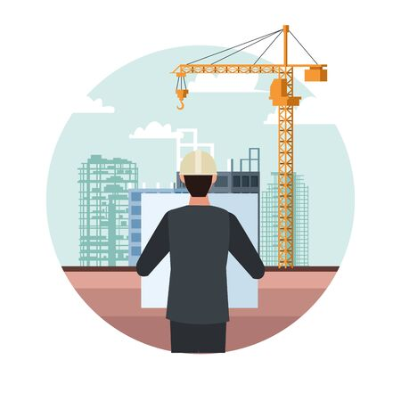engineer over under construction scenery and white background, colorful design, vector illustration