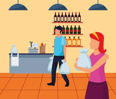 avatar man and woman with bags walking in supermarket, colorful design , vector illustration 스톡 콘텐츠 - 140834059