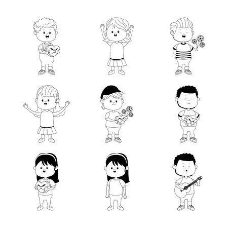 icon set of cartoon happy boys with love gifts over white background, flat design, vector illustration
