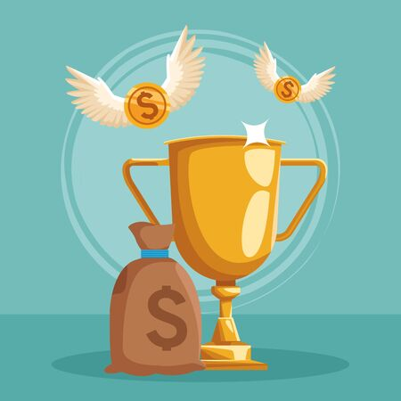 money sack and golden trophy with money coins with wings flying around over green background, colorful design, vector illustration