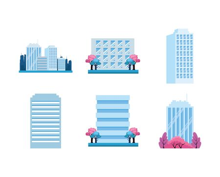 city buildings icon set over white background, colorful design, vector illustration