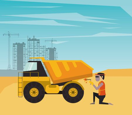 man builder working under construction scene vector illustration design Ilustracja