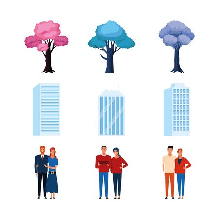 icon set of trees, buildings and couples standing over white background, vector illustration