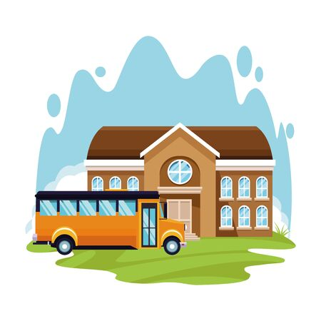 school bus and building over white background, colorful design , vector illustration