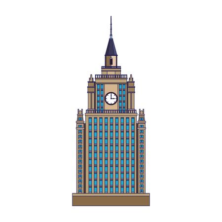 city building tower icon over white background, vector illustration