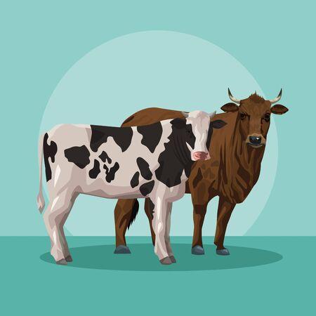 bull and cow animals farm vector illustration design