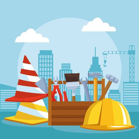 traffic cones with tools box and safety helmet over under construction scenery background, colorful design , vector illustration
