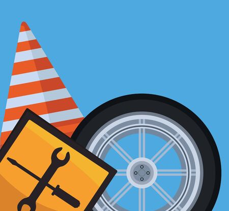 repair tools sign with car tire and traffic cone over blue background, colorful design, vector illustration