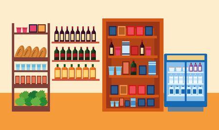 supermarket stands with bottles and groceries, colorful design , vector illustration