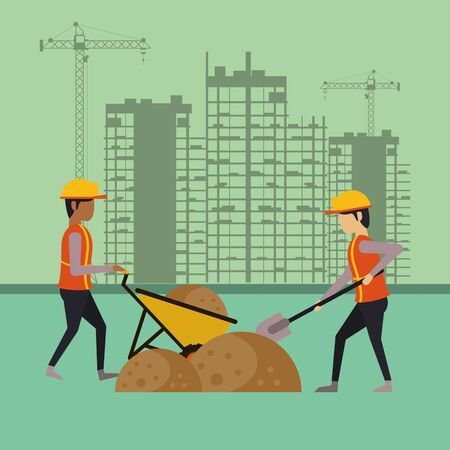 builders working under construction scene vector illustration design