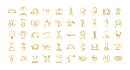 bundle of awards set icons vector illustration design