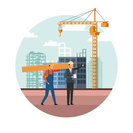 builder and engineer working over white background, colorful design, vector illustration Ilustracja