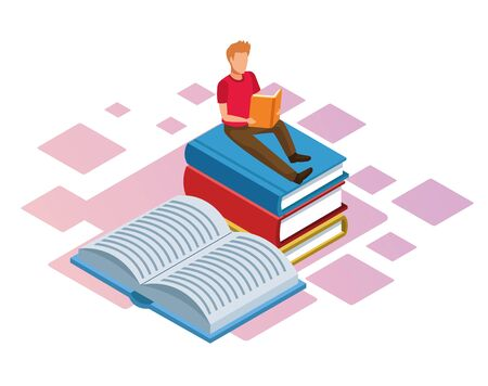 man reading a book on stack of books over white background, colorful isometric design, vector illustration Çizim