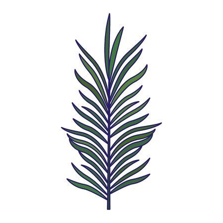 tropical leaf icon over white background, flat design, vector illustration