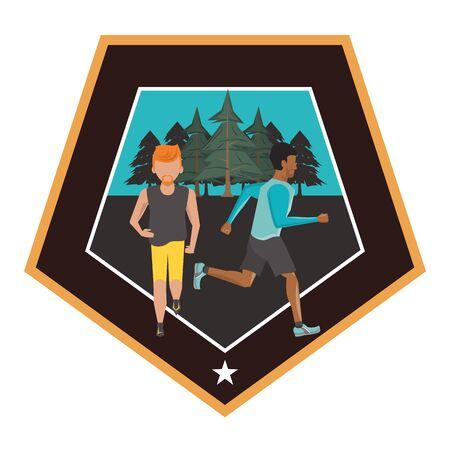 interracial men running at night in the field scene vector illustration design
