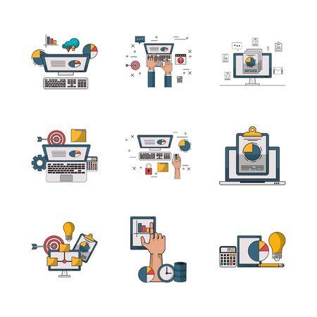 bundle of electronics devices and infocharts icons vector illustration design Çizim