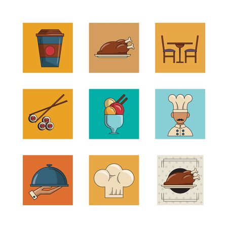 bundle of restaurant set icons vector illustration design Çizim