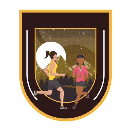 interracial women couple running at night in the field scene vector illustration design