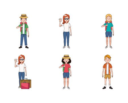 icon set of young travel people with suitcases over white background, colorful design , vector illustration 일러스트
