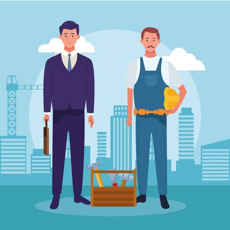 cartoon businessman and repair man standing over blue background, colorful design , vector illustration