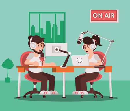 couple announcers with radio microphone and earphones vector illustration design