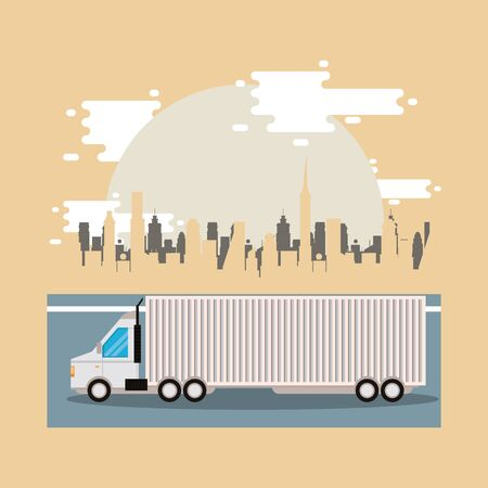 truck delivery service on the city scene vector illustration design