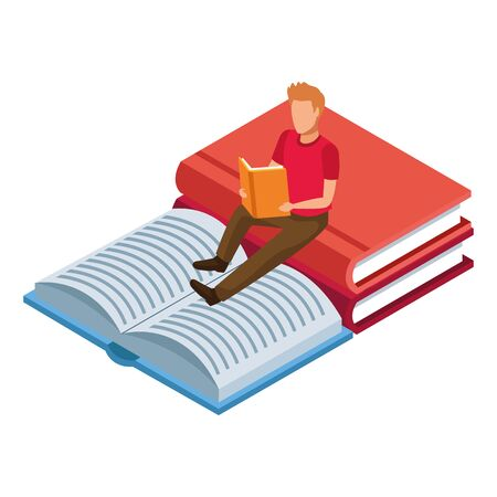 big books and man reading over white background, vector illustration