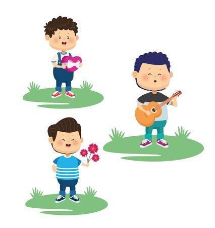 happy little boys group doing activities characters vector illustration design Stock Illustratie