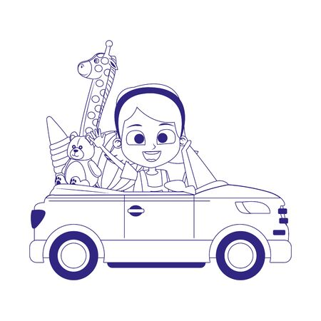 sport car with cute girl and toys over white background, vector illustration Stock Illustratie