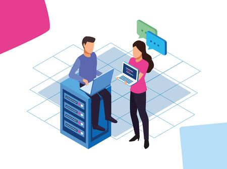 avatar man and woman with computers and data center server over white background, colorful design, vector illustration
