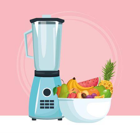 blender and bowl with tropical fruits over pink background, colorful design , vector illustration Çizim
