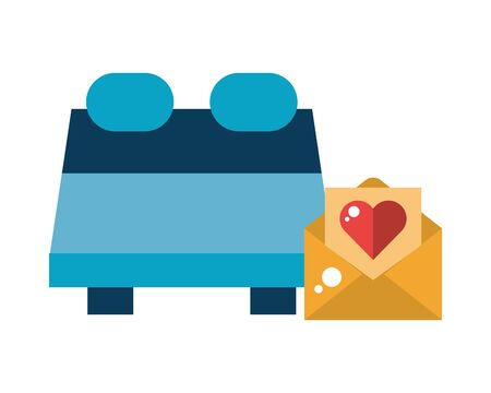 envelope mail with heart love and bed vector illustration design