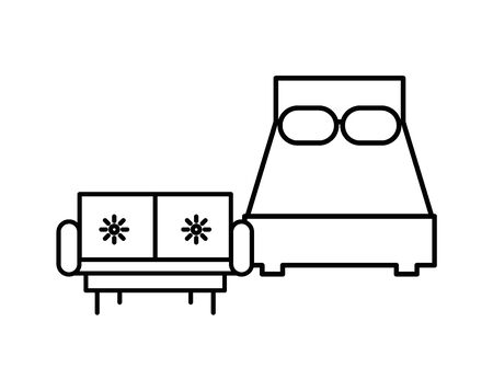 bed and sofa furniture isolated icon vector illustration design
