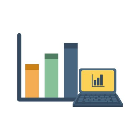 laptop computer with financial statistics bars vector illustration design Çizim