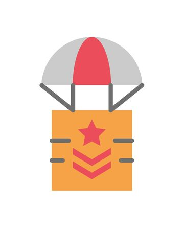 box in parachute military force isolated icon vector illustration design