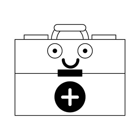 Medical first aids suitcase smiling cute cartoon vector illustration graphic design Çizim