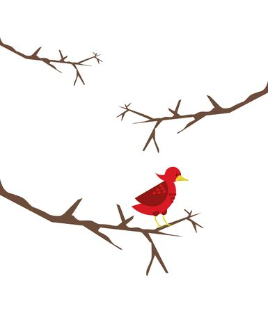 cute little bird in tree dry branch vector illustration design Çizim