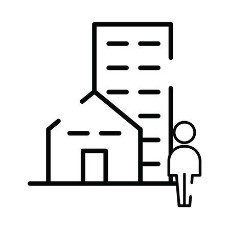 pedestrian silhouette walking with buildings vector illustration design Ilustracja