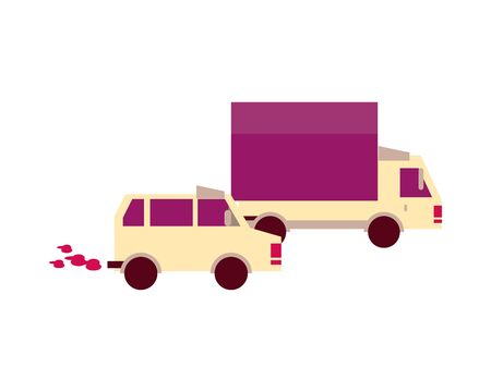 truck and car vehicles isolated icon vector illustration design 스톡 콘텐츠 - 140836904