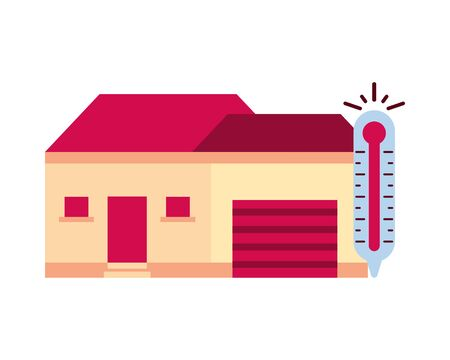 house building front facade with thermometer vector illustration design Ilustracja