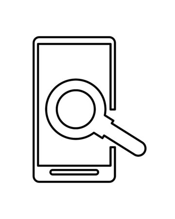 smartphone technology with magnifying glass vector illustration design Ilustrace