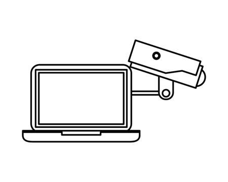 cctv video camera with laptop vector illustration design Ilustrace
