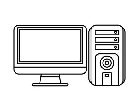 computer desktop tower with monitor vector illustration design Ilustrace