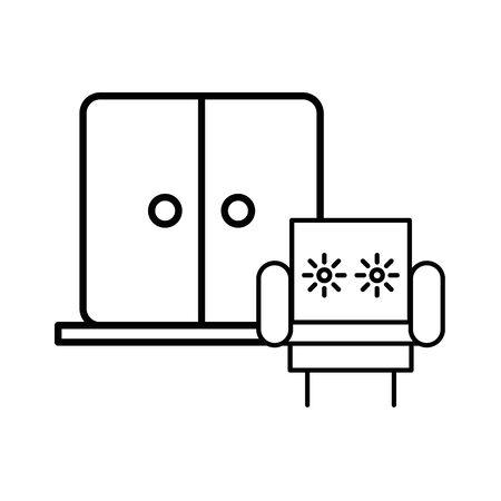 house door with sofa livingroom icon vector illustration design