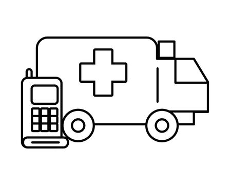 communicator radio military force with ambulance vector illustration design
