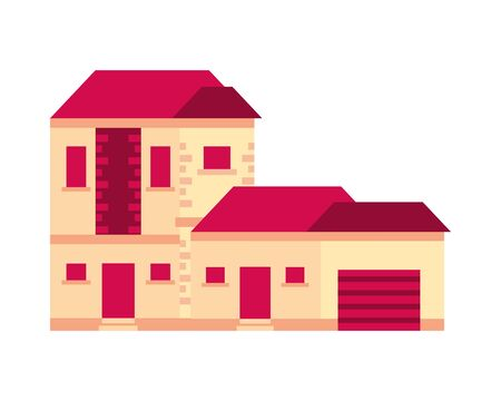 house building front facade icon vector illustration design