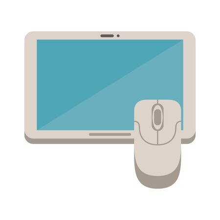 tablet electronic device with mouse vector illustration design