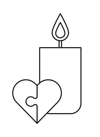 heart love puzzle with candle fire flame vector illustration design Illustration