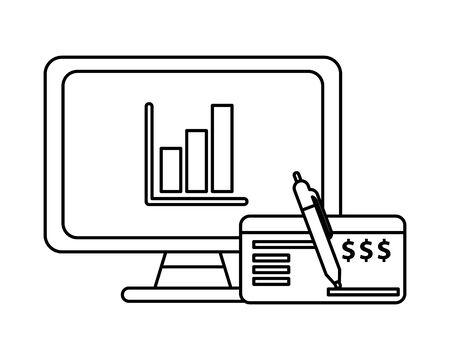 desktop with statistics bars and check bank vector illustration design